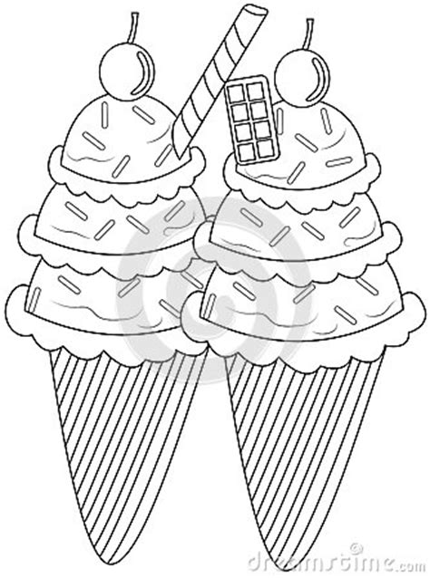 ice cream coloring page stock illustration image