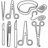 Forceps Clip Drawing Vector Surgical Illustrations Instrument sketch template