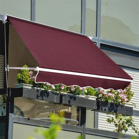 outsunny  drop arm manual retractable window awning canopy shelter sunshade ebay