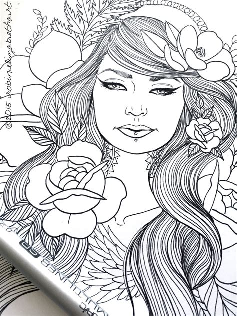 girls  tattoos pack adult coloring pages magnolias