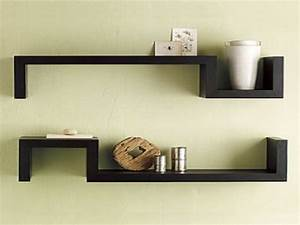 Bloombety : Black Wall Shelves With Symetrized Design