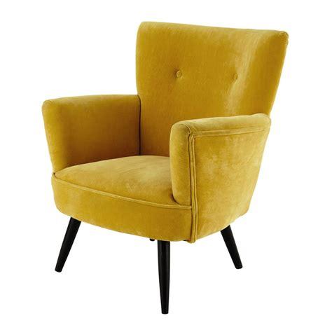 fauteuil en velours jaune sao paulo maisons du monde