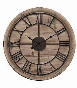 Horloge Murale Bois : horloge murale ronde bois et m tal noir 60cm ~ Teatrodelosmanantiales.com Idées de Décoration