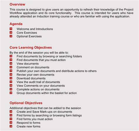 format  training agenda   examples samples