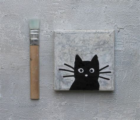 Abstract Black Cat Painting by Black Cat Abstract Painting Encaustic Cat Painting