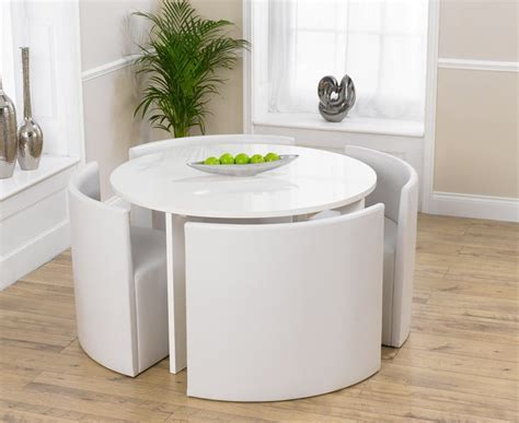 Oslo White High Gloss Round Stowaway Dining Table with 4