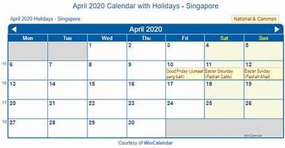 Calendar April Singapore Holidays Printable Wincalendar