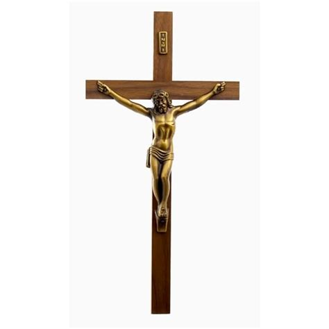bronze solid walnut crucifix