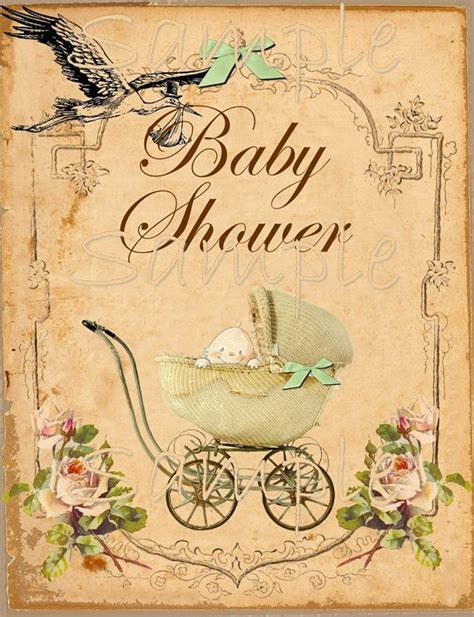 vintage baby shower printable flat card    single