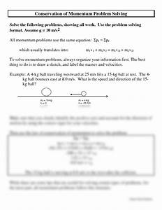 Worksheets. Conservation Of Momentum Problems Worksheet ...