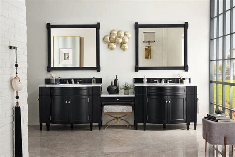Select by width size either single sink or double sink vanity with make up counter top space and matching set work bench. James Martin 650-V118-BKO-DU-SNW Brittany 118 Inch Double ...