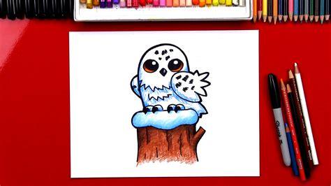 draw  snowy owl cartoon art  kids hub
