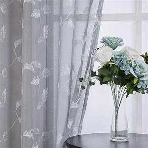 Caromio, Sheer, Curtains, For, Bedroom, Elegant, Leaves, Embroidery, Sheer, Voile, Drapes, Floral