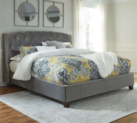 3162 grey upholstered king bed king upholstered bed in gray velvet by signature design by