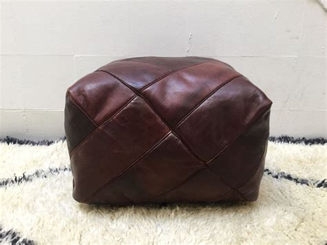 moroccan leather pouf genuine leather moroccan pouf ottoman whiskey brown
