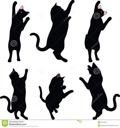 Vector Image - Cat Silhouette In Reach Pose Isolated On ...