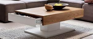 Table Basse Blanc Laqué Et Bois : table basse design blanc laqu et bois ch ne 2 tiroirs scab miliboo ~ Teatrodelosmanantiales.com Idées de Décoration