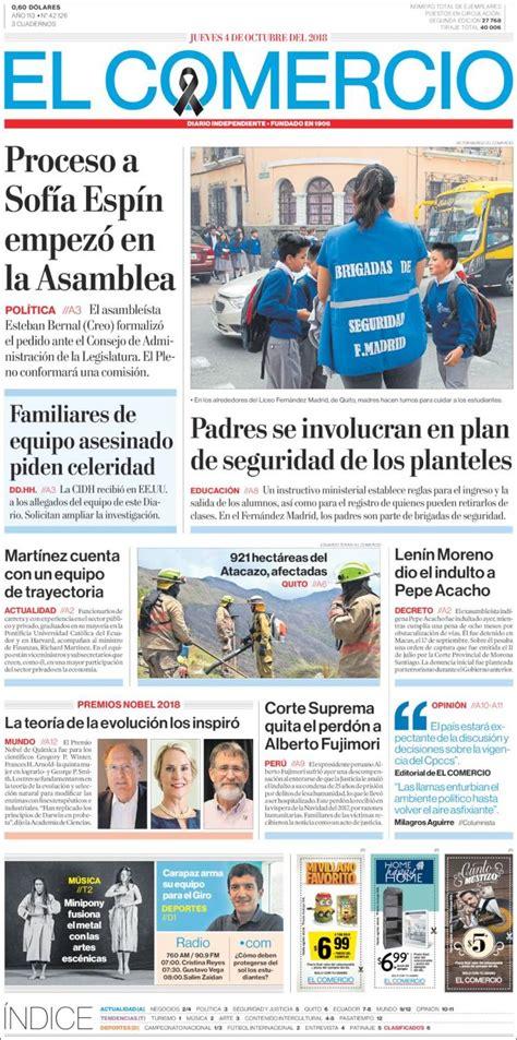 Portada Jueves 04 de Octubre-El Comercio (Ecuador)   ALnavío
