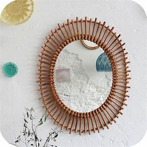 Petit Miroir Rotin : mobilier vintage miroir rotin vintage atelier du petit parc ~ Melissatoandfro.com Idées de Décoration