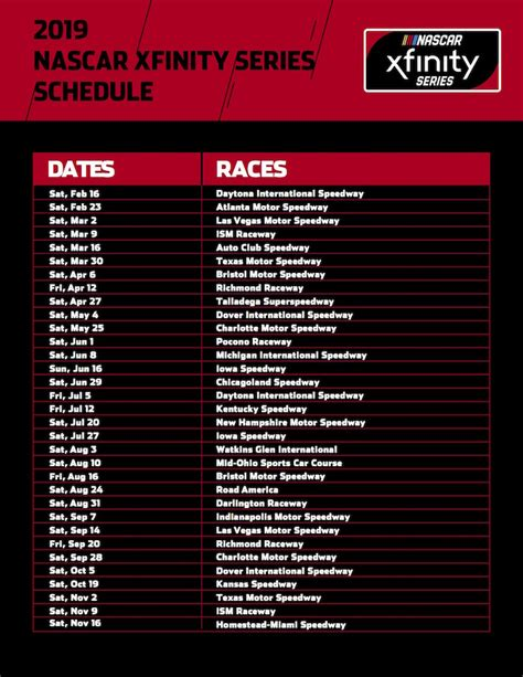 Nascar 2019 Schedule
