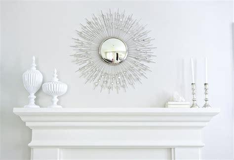 silver sunburst mirror transitional living room benjamin balboa mist studio mcgee