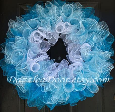 how to make mesh garland with lights blue ombre curly q deco mesh wreath white light blue
