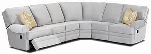 Classic reclining sectional sofa with rolled arms by for Sectional sofas wolf furniture