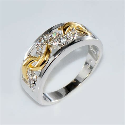 size 6 10 gold silver crystal hollow band ring 10kt white gold filled jewelry ebay