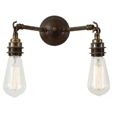 antique brass bare bulb wall light fitting vintage