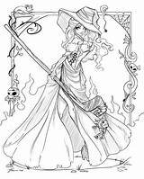 Coloring Witch Pages Adults Printable sketch template