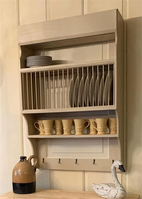 customize  large wood wall mounted farmhouse plate rack etsy plate racks  kitchen