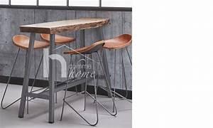 Table Haute Industrielle : table haute industrielle en acacia massif et m tal alena ~ Melissatoandfro.com Idées de Décoration