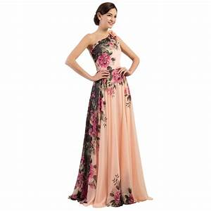 one shoulder long printed flower evening bridesmaid dress With evening wedding dress
