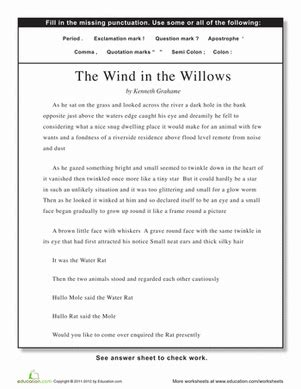 punctuation the wind in the willows worksheet