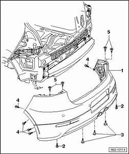 Volkswagen Workshop Manuals  U0026gt  Golf Mk5  U0026gt  Body  U0026gt  General Body Repairs  Exterior  U0026gt  Bumper  U0026gt  Rear