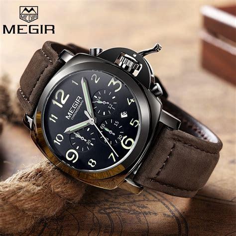 orologio da polso da uomo al quarzo acciaio  cronografo data moda  megir militare brand