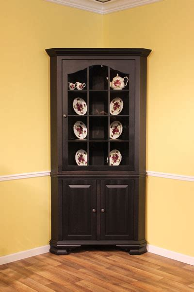 colonial corner cabinet maple beaded inset black