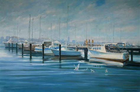 Swan River Boats For Sale by Paintings Brian Simmonds Australian Auction Records