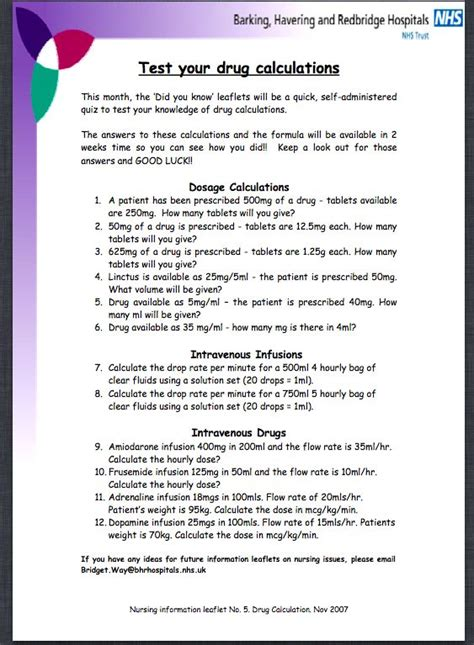 printable dosage calculations practice problems