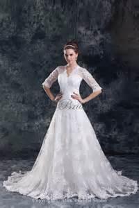 a line wedding dresses with sleeves allens bridal lace v neck neckline sweep a line half sleeves wedding dress
