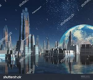 Futuristic Moon Base City On Alien Stock Illustration ...