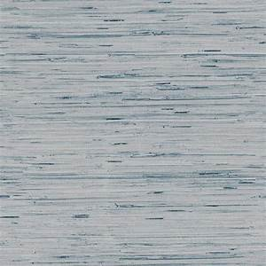 Lustrous Faux Grasscloth Wallpaper in Soft Blue and ...