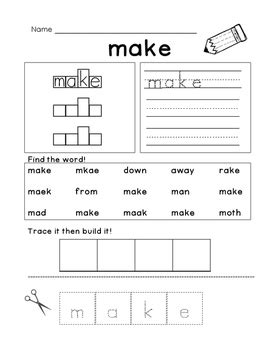 Sight Word: Make by Miss Smith's Smarties | Teachers Pay