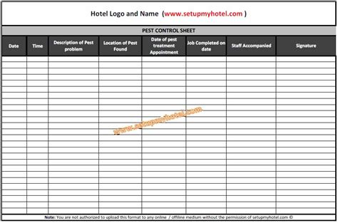 Pest Control Log Book / Sheet