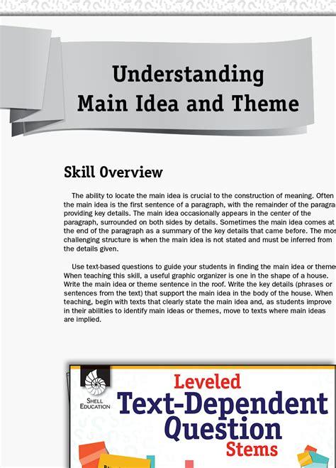 leveled text dependent question stems understanding main