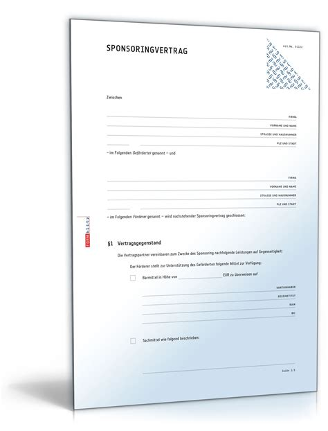 Garten Mieten Vertrag by Sponsoringvertrag Rechtssicheres Muster Zum