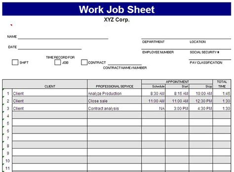 contract template update to carry note excel template for job sheet time tracking on behance