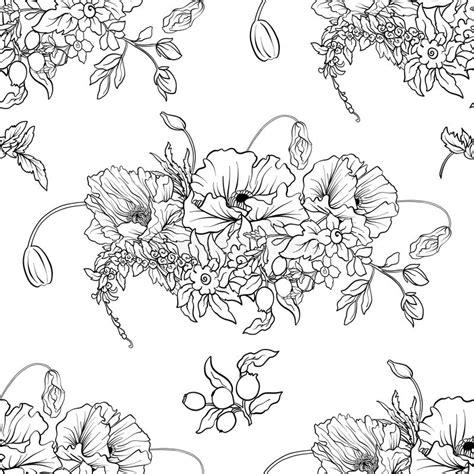 seamless pattern  poppy flowers daffodil anemone