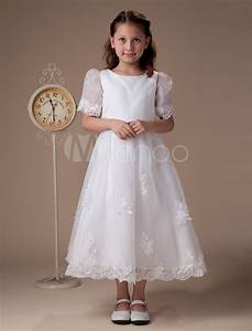 white round neck short sleeves satin first communion dress With robe de première communion