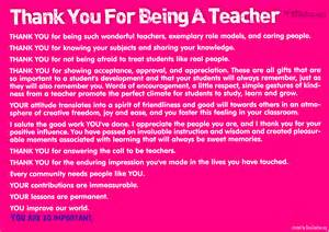 Thank You for Being a Teacher Quote